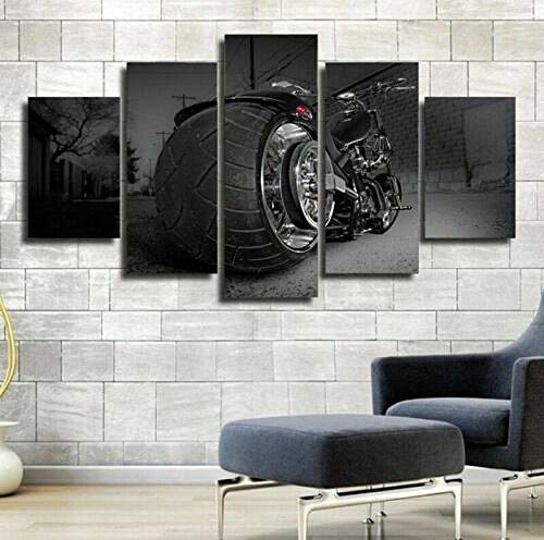 WJWORLD Fat Boy Bike vijf stuks canvas Home Decor muurkunst 5 stuks 20x35cmx2,20x45cmx2,20x55cmx1 Frame