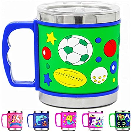 Prezzie Villa® Cartoon Mug for Boys Stainless Steel Emboss Hot and Cold Coffee/Milk/Tea Mug for Kids Cute Cartoon Print Soft Rubber Design Cup for Gifts Boys Toddlers Random Design and Color Sent