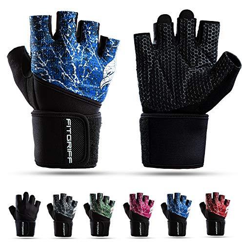 Fitgriff® Fitness Handschuhe V2, Trainingshandschuhe, Sporthandschuhe für Damen und Herren, Krafttraining, Kraftsport, Training, Sport, Gym, Workout Gloves (Blue, 8)