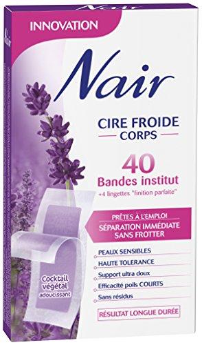 Nair - 40 Bandes de Cire Froide - Corps - Prêtes à l'emploi - Peaux sensibles - Efficacité poils courts