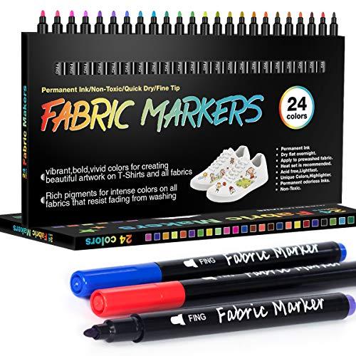 APOGO 24 pennarelli per tessuti lavabili in lavatrice, colori permanenti per tessuti, scarpe, magliette, sacchetti, sacchetti di stoffa da colorare, bavaglini
