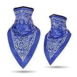 LKXHarleya Bandanas Headband - Quick Dry, UV Protection, Windproof Multifunctional Balaclava Face Mask Seamless Neck Gaiter Scarf Paisley Print Head Wraps(Blue)