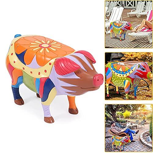 2021 New Schwein Patio Beistelltisch,Schwein Beistelltisch Skulpturen, Animal Simulation Harz Statuen Tische Für Outdoor Garden Courtyard Landscape (large,Pig)