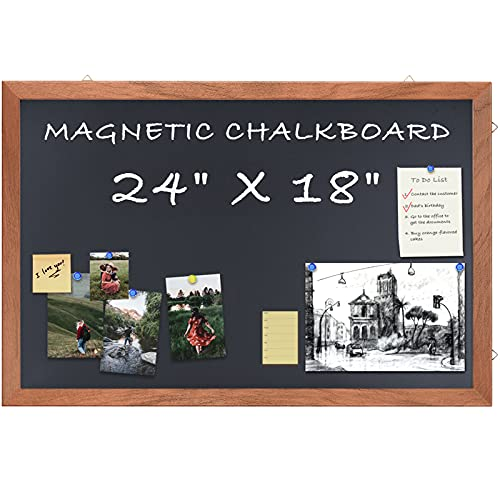 Magnetic Chalkboard Wood Frame, 24 x 18 inches Wall Mounted Hanging Chalkboard with Hooks Non-Porous Framed Rustic Blackboard Small Chalkboard for Wedding Kitchen Bar Restaurant Menu