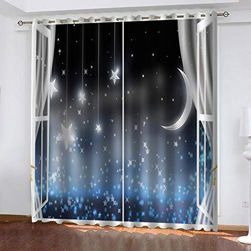 "Grommet Thermal Insulated Room Darkening Curtains Blackout Curtains for Bedroom Insulated Heavy Weight Textured Rich 2 Panels 140"" W x 160"" Hcm Stars Moon"