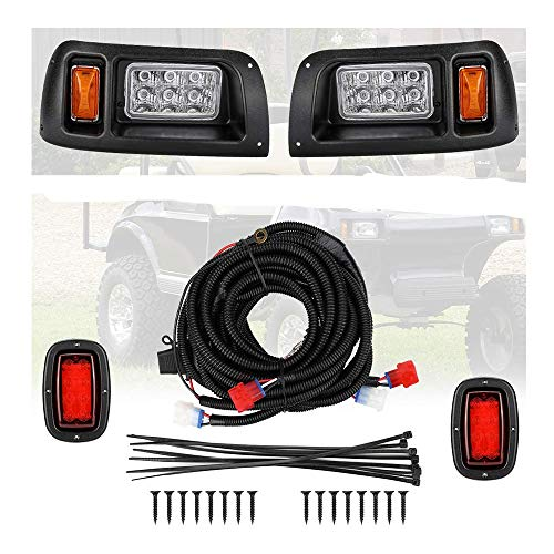 kemimoto Compatible with Club Car DS Light Kit, LED Headlight & Tail Light for Gas & Electric Club Car DS golf carts (1993 & up) 12V