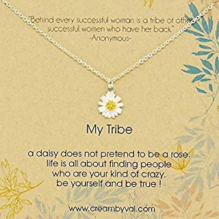 My Tribe Daisy Sterling Silver Necklace 17'' Length