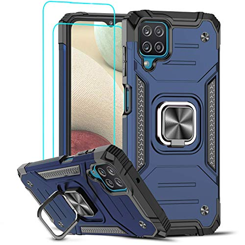 LeYi Funda Samsung Galaxy A12 Armor Carcasa con [2 Unidades] Cristal Templado, Cover con 360 Grados Magnetic Anillo Soporte Hard PC y Silicona TPU Bumper antigolpes Case para Samsung A12, Azul