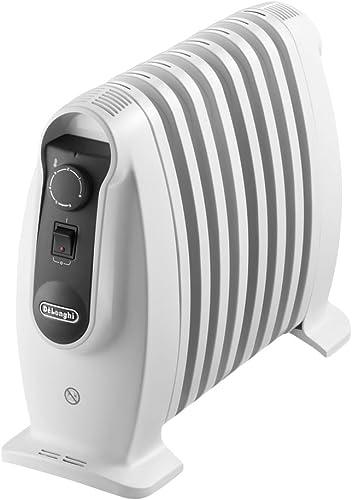 De'longhi TRNS 0808M - Radiador 800 w, ajustes termostato, asas, protección anti heladas, Blanco, 17,3x50,5x34,0 cm
