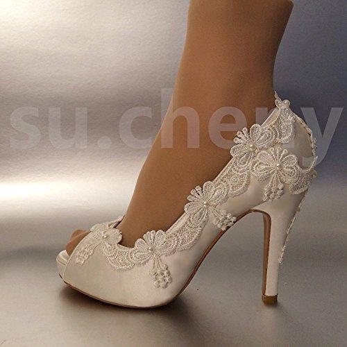 Jingxinstore 8cm/7,6cm tacco in raso bianco Lace Pearls Open toe scarpe da matrimonio sposa taglia 5–11, White, 6 US