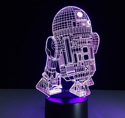 3D Optical Illusion Lampe Led Nachtlicht Neuheit Star Wars R2-D2 Roboter 3D Nachtlicht Led Nachttischlampe Tisch Schreibtisch Usb Nachtlicht Luminarias Für Kinder Drahtlose Wandleuchte