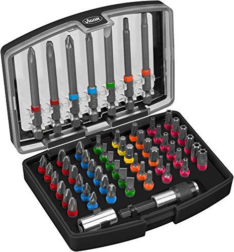 Vigor Bit-Box (gängige Profile und Größen, farblich markiert nach Profilen, inklusive extra langen Bits, 57 Einzelteile) V5020