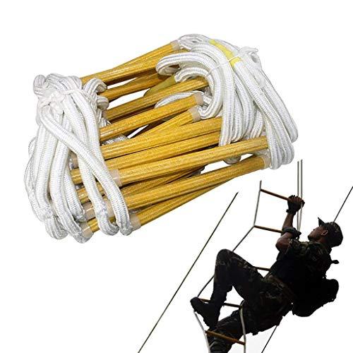 WSJ Home Échelle de sécurité en polyester avec 2 crochets pour escalier de secours et de secours en hauteur avec 2 crochets – Facile à déployer (taille : 5 m), 20m/66ft