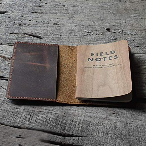 JJNUSA Handmade Distressed Genuine Leather Pocket Travel Journal Field Notes Cover Notebooks Leather Journal for 3.5 x 5.5 Notebook Moleskine Cahie Vintage Refillable Notepad Brown