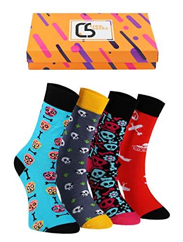 Creasocks Lustige Socken für Herren, Neuheit, Funky, schrullig, Bunte Silly Socken für Geschenke, Baumwolle, Geschenke für Männer, EU41-46, Einzigartige gemusterte ungewöhnliche Socken, 4 Paar