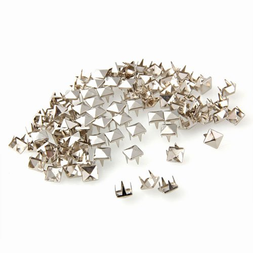 Ecloud Shop 100 Stücke 7mm Nieten DIY Pyramidennieten Ziernieten Silber FA.für Schuhe Gürtel