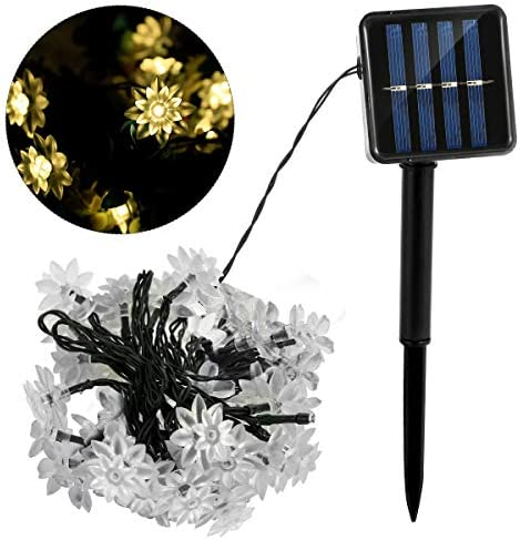 SOONHUA 23ft Solar Lotus Warm White Light String Lights with 50 LED String Light Solar Power product image