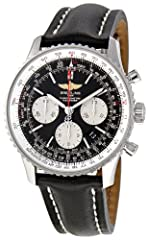 Navitimer world watch with corrugated bidirectional bezel and black dial with luminous hands/indices and three chronograph subdials 43 mm stainless steel case with anti-reflective sapphire dial window Automatic self-wind movement with analog display ...