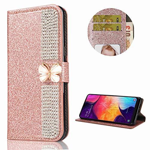 Miagon Hülle Glitzer für Samsung Galaxy Note 20 Ultra,Diamant Strass Schmetterling Kette PU Leder Handyhülle Ständer Funktion Schutzhülle Brieftasche Cover,Roségold