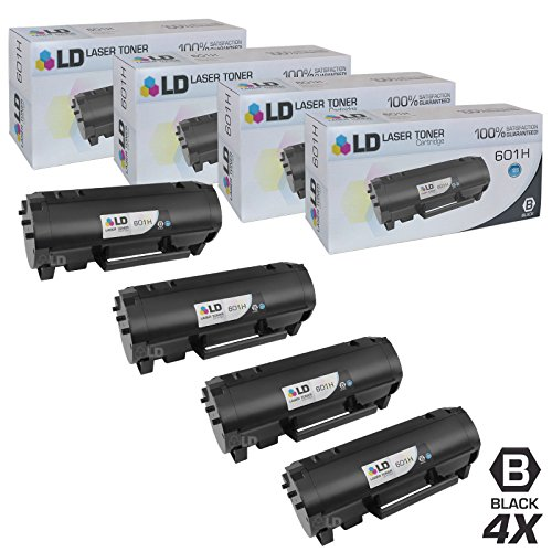LD Compatible Toner Cartridge Replacement for Lexmark 601H 60F1H00 High Yield (Black, 4-Pack)