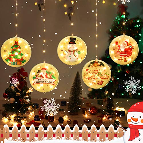 BLOOMWIN LED Lichterkettenvorhang, Acrylanhänger Hängelampe Lichtervorhang 113 LEDs 3D Vorhanglicht Fensterdekoration USB Stimmungsbeleuchtung Fenster Weihnachten Weihnachtsfeier Deko Innen Warmweiß