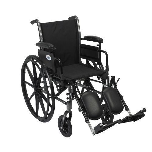 Drive Medical Cruiser III Light Weight Wheelchair with Various Flip Back Arm Styles and Front Rigging Options, Flip Back Removable Adjustable Height Desk Arms/Elevating Leg Rests, Black, 20 Inch