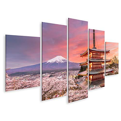 islandburner Cuadro en Lienzo Fujiyoshida Japón Visto Desde el Monte Fuji y la Pagoda Cuadros Modernos Decoracion Impresión Salon