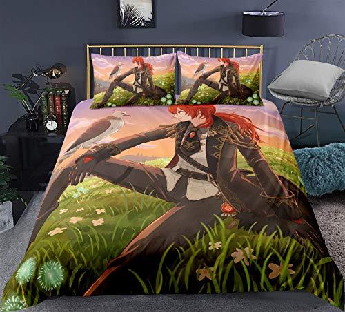 Funda de almohada de animación Cubierta de edredón para Genshin Impact-Tartaglia, Ropa de cama de impresión de alta definición 3D, animación de dibujos animados lindo, fibra de poliéster, suave y cómo