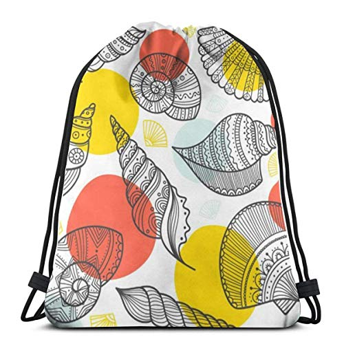 BXBX Bags Seamless Pattern with Shells in Ethnic Boho Style Shopping School Bags Rucksacks Drawstring School Gym PE Book P E Eco Friendly Shoppers