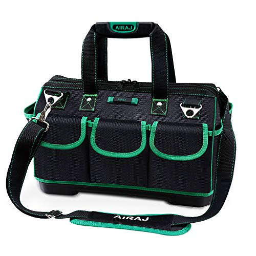 AIRAJ 16 Inch Tool Bag with Water Proof Molded Base,Wide Mouth Storage Bag,Multi-Pocket,Tool Bag Organizer with Adjustable Shoulder Strap,Portable Storage Bag,Green/Black