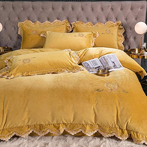 geek cook Bed Sheet Set,Embroidered coral fleece four-piece set to keep warm double-sided fleece French flannel duvet cover for winter bed-turmeric_1.8m