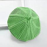 JSJJAUJ Sombreros de otoño e Invierno Sombrero Nuevo otoño Invierno Dulce Color Coreano Chicas cálido Sombrero bereet bebé Punto Sombrero Tendencia (Color : Green, Size : One Size)