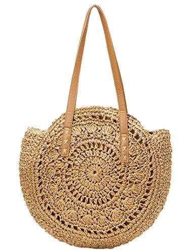 Straw Handbags Women Handwoven Round Corn Straw Bags Natural Chic Hand Large Summer Beach Tote Woven Handle Shoulder Bag (Khaki-pattern)