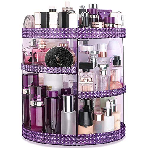 Awenia Makeup Organizer 360-Degree Rotating, Adjustable Makeup Storage, 7 Layers Large Capacity Cosmetic Storage Unit, Fits Different Types of Cosmetics and Accessories, Plus Size (Purple)