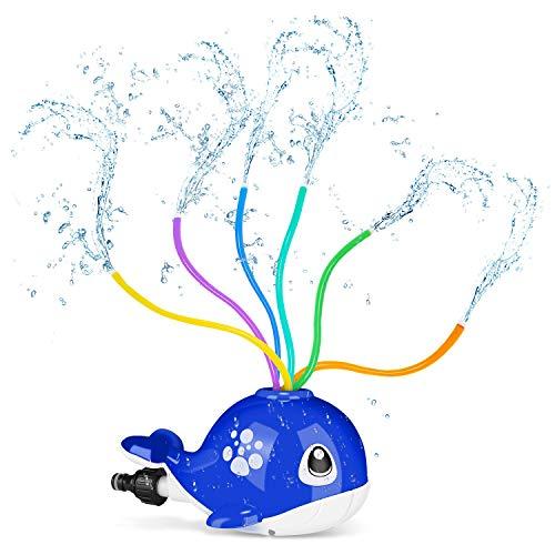 joylink Wassersprinkler für Kinder, Sprinkler Spielzeug mit 6 Schlauch, Wasser Sprinkler Spielzeug im Wal Design Toy Sprinkler Wasser für Garten, Outdoor (Navy Blau)