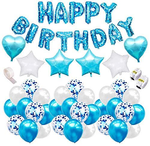 Comius Sharp 52 Piezas Azul Decoración Cumpleaños Globos de Látex Globos de Estrella y Corazon Globos de Confeti Cumpleaños Happy Birthday Banner, para Decoraciones de la Fiesta de Cumpleaños