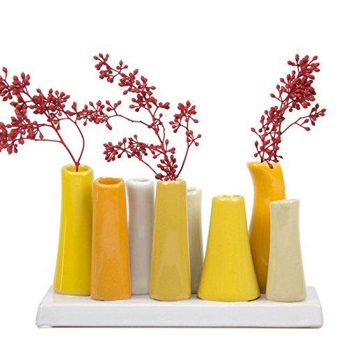 Jarrón de cerámica para el hogar. color Amarillo
