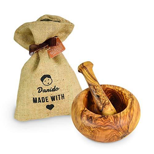 Pestle and Mortar by Darido - Juego de mortero y mortero de madera de olivo - Molinillo de ajo resistente - Trituradora de hierbas, semillas, frutos secos y especias saludables - Tazón de mortero