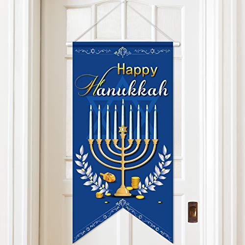 Door Sign Decorative Door Decor Welcome Banner, Hanging Welcome Door Sign Banner Fabric for Happy Fall/Thanksgiving/Christmas/Hanukkah (Hanukkah)