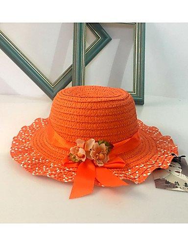 ZYT Fille Mignon Décontracté Décoratif Chapeau Paille Chapeau de Soleil,Solide Printemps/Automne Eté Orange Rose Claire Beige Lavande, Blushing Pink, m