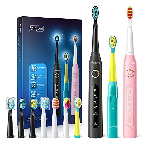 Elektrische Zahnbürste Kinder Familienset Fairywill - 3 Schallzahnbürste mit Mehrere Putzprogramm Electric Toothbrush für Erwachsene & Kids, 10 Aufsteckbürste Timer, IPX7 Wasserdicht Schnelles Laden