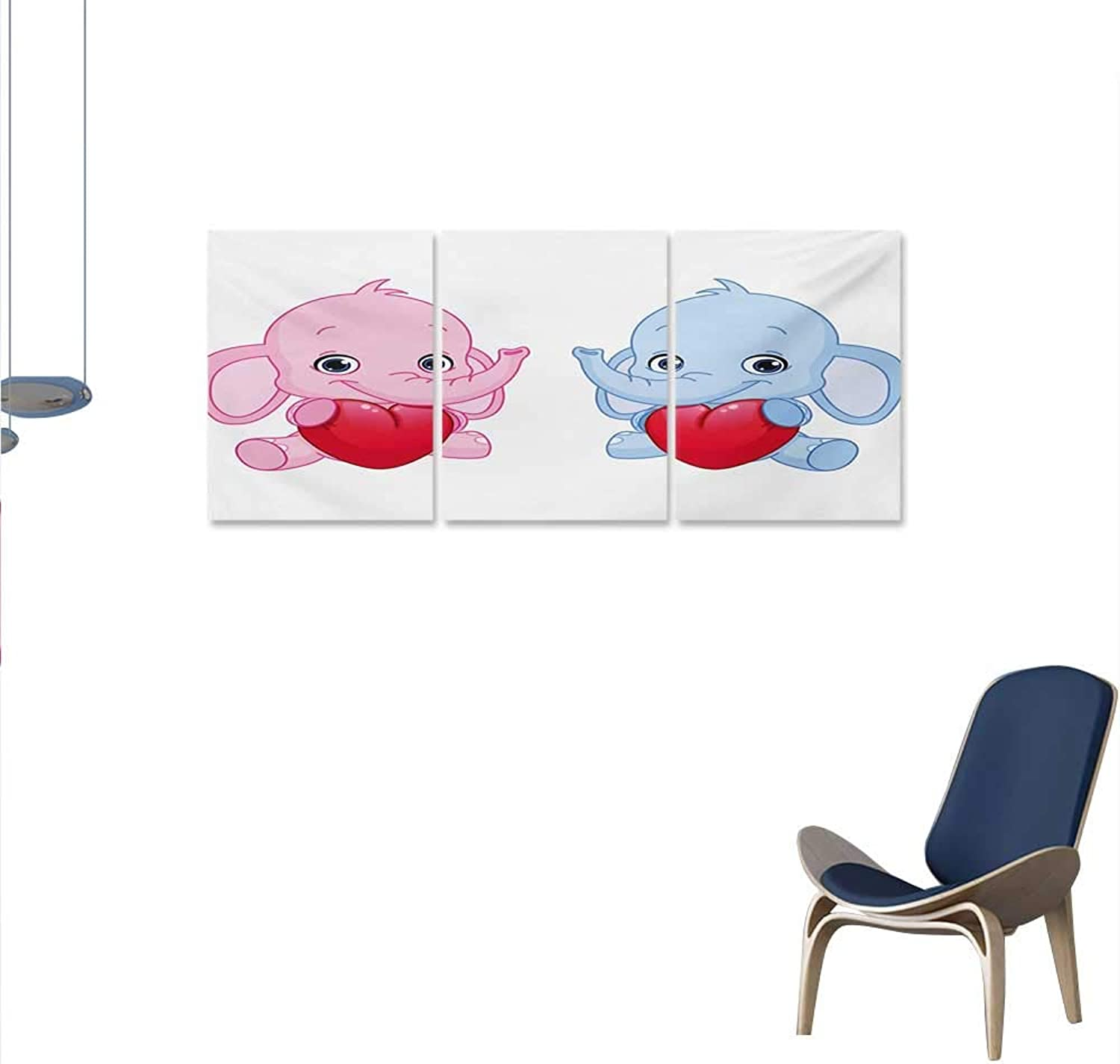 Elephant Nursery 3 Piece Canvas Wall Art Pink and bluee Kid Infant Elephants Holding Hearts Smiling Twins Print Paintings for Home Wall Office Decor 16 x32 x3pcs Pale Pink bluee White