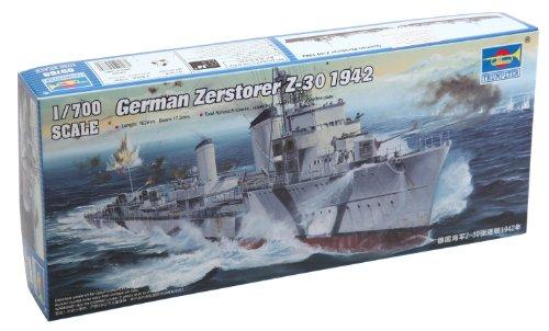 Trumpeter Z-30 German Zerstorer Destroyer Ship Model Kit (1942), Scale 1/700 -  Stevens International, TRU05788