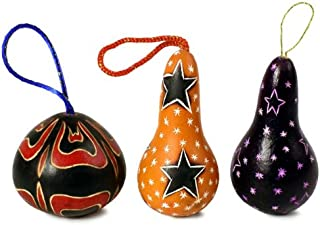 Set of Six Drop Shaped Gourd Christmas Ornaments Assortment