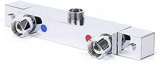 TFCFL 3-Way Brass Thermostatic Mixing Valve Temperature Control Mixer Valve for Bathroom Chrome