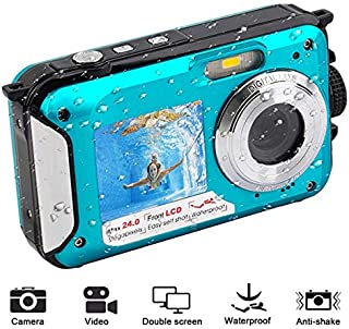 Leoie 1080P Full HD Waterproof Digital Camera Underwater Camera 24 MP Video Recorder Selfie Dual Screen DV Recording Camera Blue