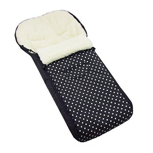 BAMBINIWELT universaler Winterfußsack (108cm), auch geeignet für Babyschale, Kinderwagen, Buggy, aus Wolle DESIGN (Schwarz kleine Weiße Punkte)