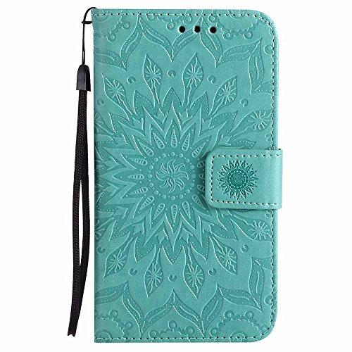 Dfly Custodia Galaxy S5/S5 Neo, Premium PU Goffratura Mandala Design Pelle Chiusura Magnetica Protettiva Portafoglio Custodia Super Sottile Flip Cover per Samsung Galaxy S5 / S5 Neo, Verde