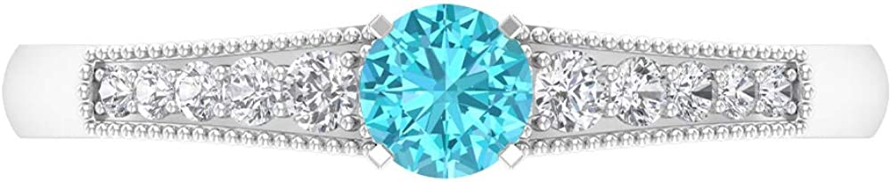 0.40 CT Swiss Blue Topaz Diamond Rin Ring HI-SI 5 Popular ☆ popular Solitaire