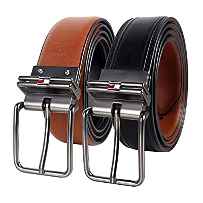 Tommy Hilfiger Reversible Leather Belt - Casual for Mens Jeans with Double Sided Strap and Silver Buckle, Black/Tan 2, Medium (34-36)